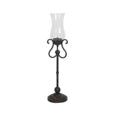 Privilege Inc. Small Iron & Glass Candle Holder