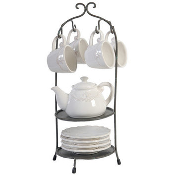 A & B Home Group Inc 9 Piece Cup And Saucer Teapot Set with Stand