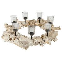 A & B Home Group Inc A & B Home Group, Inc Wood and Metal Candlestick