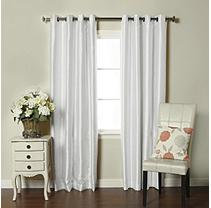 Brielle Fortune Faux Dupioni Silk Lined Insulated Room Darkening Grommet Panel, 50 by 84, White