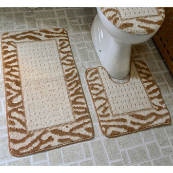 Dainty Home 3 Piece Animal Rug Set, Taupe / Ivory