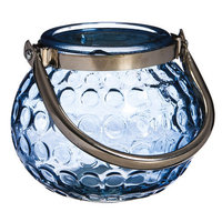 Evergreen Enterprises Shades Of Indigo Glass Globe Candleholder With Metal Handle