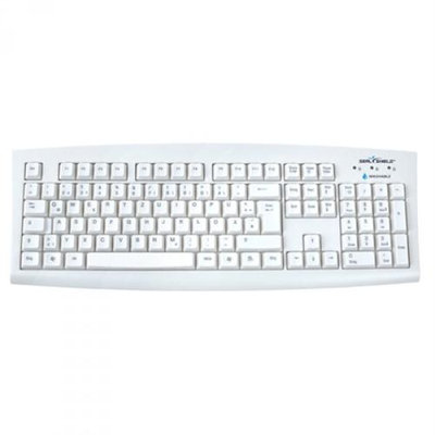 Seal Shield Medical Grade International Keyboard with Quick Connect, Dishwasher Safe and Antimicrobial, QWERTZ ISO, USB, White