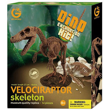 Geo World Dino Excavation Kit Velociraptor Skeleton