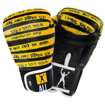 Ali Trash Talk Synthetic Leather Boxing Gloves - 16 oz. - Yellow/Black