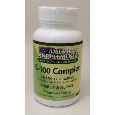 B-100 Complex No Chinese Ingredients American Supplements 60 VCaps