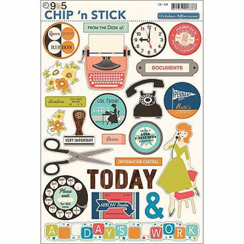 October Afternoon 9 To 5 Chip 'n Stick Chipboard Stickers, 8
