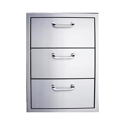 Outdoor GreatRoom 3DRW 3 Drawer Storage in Stainless Steel