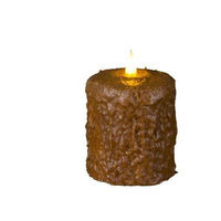 Delighted Home MC-W4BR Hand-Waxed Battery-Operated 4 in. Brown MC Pillar Candle