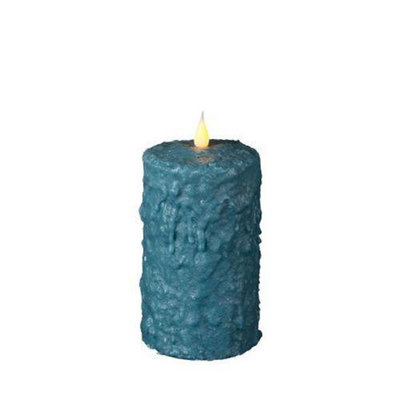 Delighted Home MC-W6AQ Hand-Waxed Battery-Operated 6 in. Aqua MC Pillar Candle