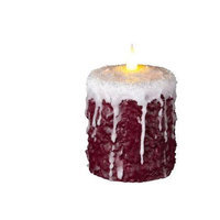 Delighted Home MC-W4FR Hand-Waxed Battery-Operated 4 in. Frosted Red MC Pillar Candle