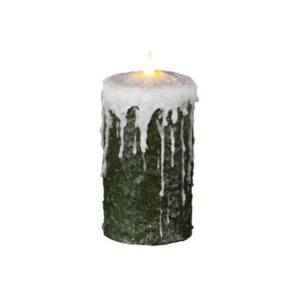 Delighted Home MC-W6FG Hand-Waxed Battery-Operated 6 in. Frosted Green MC Pillar Candle