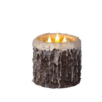 Delighted Home MC-W3LC Hand-Waxed Battery-Operated Log Cabin MC 3 Wick Candle