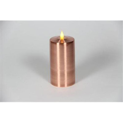 Delighted Home MC-M6C Hand-Waxed Battery-Operated 6 in. Copper MC Pillar Candle