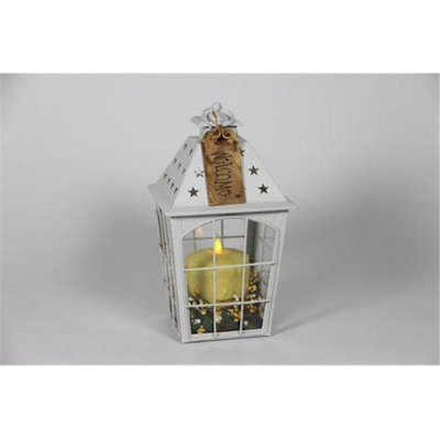 Delighted Home DH-WLSLY White Large Star Lantern with 4 in. Yellow Pillar and Berry Ring