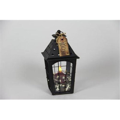 Delighted Home DH-BSSLR Black Small Star Lantern with Red Votive and Berry Ring