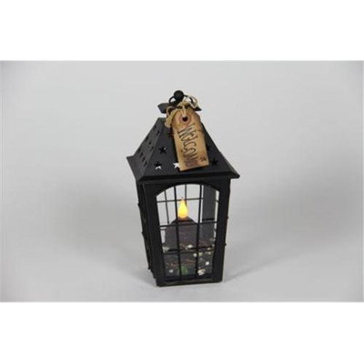 Delighted Home DH-BSSLBU Black Small Star Lantern with Burgundy Votive and Berry Ring