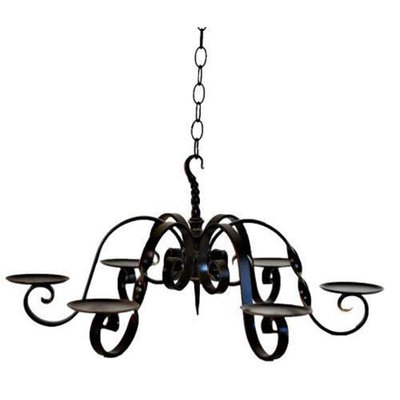 Delighted Home DH-6PCC 6 Pillar Chandelier with 6 5 in. Cream Pillars and Berry Rings