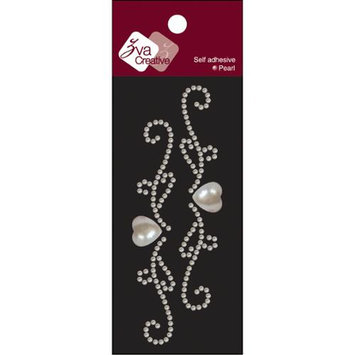 Zva Creative Self-Adhesive Pearl Embellishments 2.125X6 Sheet-Symmetrical Flourishes B - White