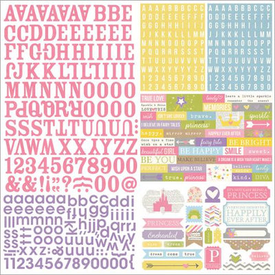 Simple Stories Enchanted Expressions Alphabet Scrapbook Stickers