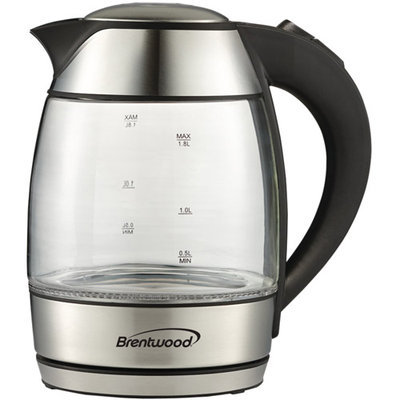 Brentwood KT-1950BK Royal Edition Black Steel/ Glass 1.8-liter Cordless Electric Kettle
