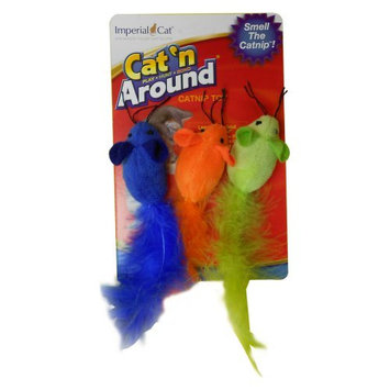 Cat Claws Inc. Cat n Around Feather Mice Trio