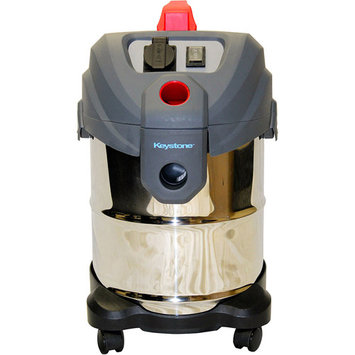 Keystone - 6.5-gal. Wet/dry Shop Vacuum - Stainless Steel