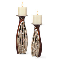 SINTECHNO K-4265C Sunset Ripples Candleholder Set 11-Inch by 13.50-Inch Height