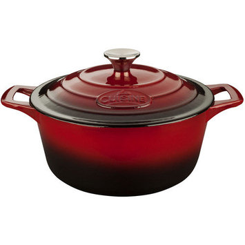 La Cuisine Pro Cast Iron Round Casserole Color: Ruby, Size: 6.6