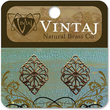 Vintaj 153584 Vintaj Metal Accents 2-Pkg-Diamond Filigree 15x21mm