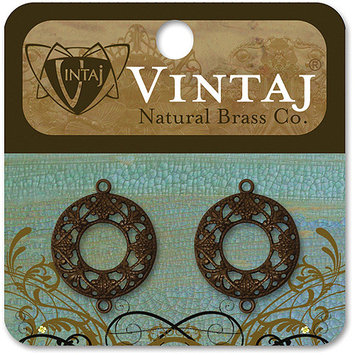 Vintaj 153583 Vintaj Metal Accents 2-Pkg-Filigree Ring 17mm