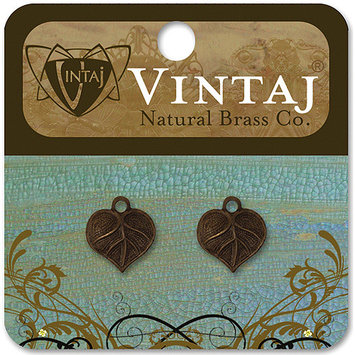 Vintaj 153620 Vintaj Metal Accents 2-Pkg-Teensie Nouveau Leaf 13x12mm