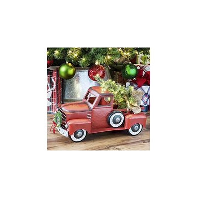 Members Mark Red Holiday Vintage Metal Truck With Lighted Accents