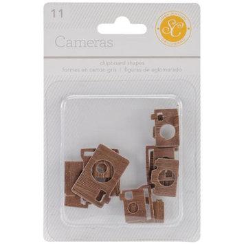 Studio Calico ESS-CHP-32093 Essentials Chipboard Shapes-Cameras Woodgrain 11-Pkg