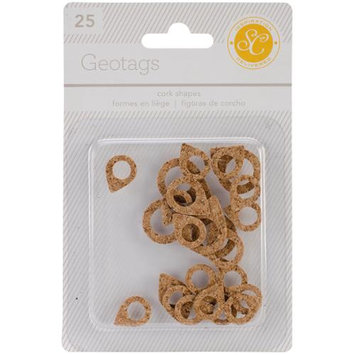 Studio Calico ESS-CS-32109 Essentials Cork Shapes-Geotags 25-Pkg