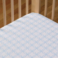 Living Textiles Baby Living Textiles Cotton Poplin Fitted Sheet - Blue Links