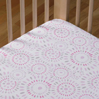 Living Textiles Baby Living Textiles Cotton Poplin Fitted Sheet - Pink Confetti