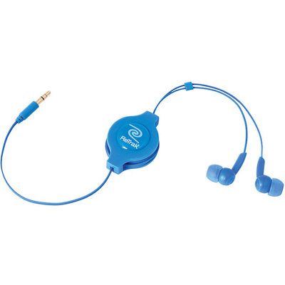 Eforcity Retrak Emerge Etaudioblu Retractable Stereo Earbuds, Blue