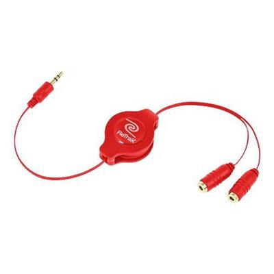Emerge Technologies RETRACTABLE HEADPHONE SPLITTER-RED