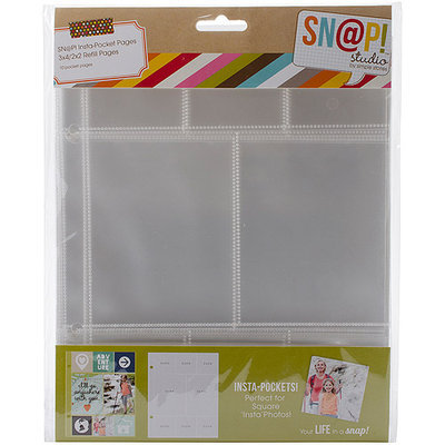 Simple Stories Sn@p! Insta Pocket Pages For 6inX8in Binders 10/Pkg-(6) 2inX2in & (2) 3inX4in Pockets