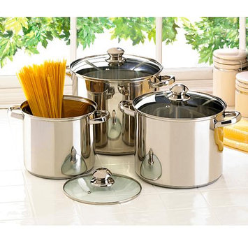 Malibu Creations 3 Piece Lidden Stockpot with Lid Set