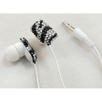 Ihip Black Chic Crystal Rhinestone Bling Fashion Earphones Earbuds