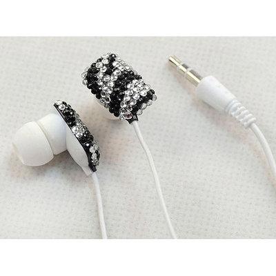 Ihip Black Chic Crystal Rhinestone Bling Fashion Earphones Earbuds