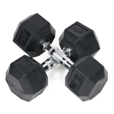 Pair of Rubber Coated Hex Dumbbells Size: 5 lbs