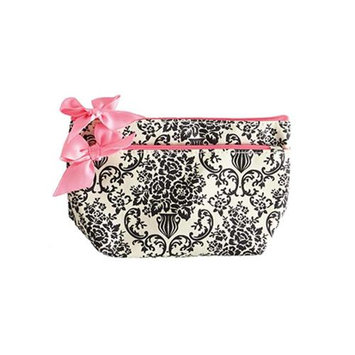 Jessie Steele 903-JS-229C Cream And Black Bouquet Damask Petite Cosmetic Bag Pack Of 2