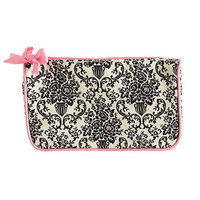 Jessie Steele 904-JS-229C Cream And Black Bouquet Damask Generous Cosmetic Bag Pack Of 2