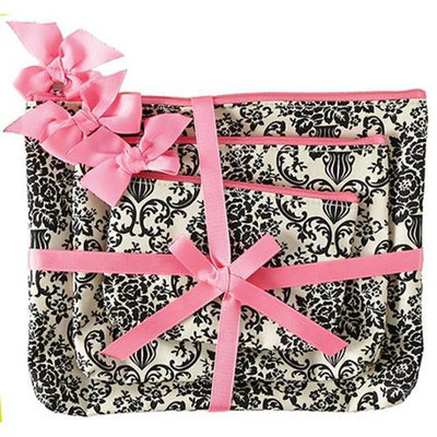 Jessie Steele 906-JS-229C Cream And Black Bouquet Damask 3 Piece Gift Set Pack Of 2