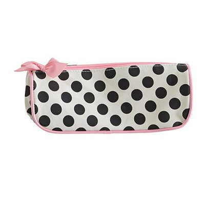 Jessie Steele 902-JS-68C Cream And Black Polka Dot Brush Cosmetic Bag Pack Of 2