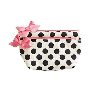 Jessie Steele 903-JS-68C Cream And Black Polka Dot Petite Cosmetic Bag Pack Of 2