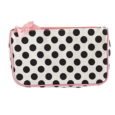 Jessie Steele 904-JS-68C Cream And Black Polka Dot Generous Cosmetic Bag Pack Of 2